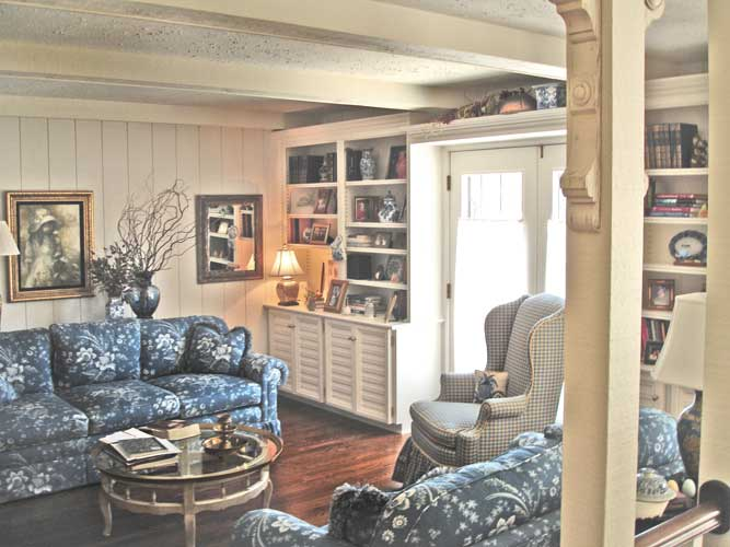French country style family room bookcases for The family room in french