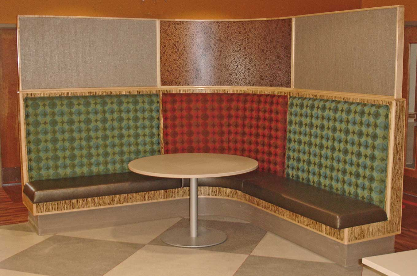 Upholstered banquette booth seating - Booth seating kitchen ...