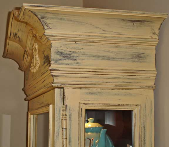 Hand Painted Curio Cabinet Crown Detail Of