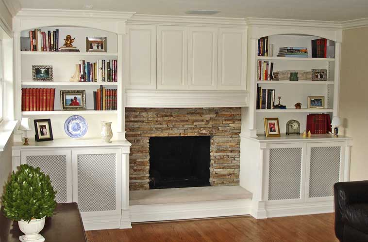Painted Media Center and Mantle